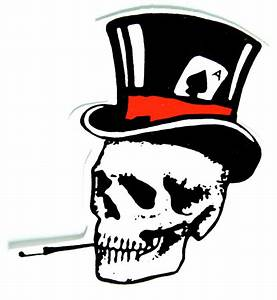 Top hat skull left sticker for helmets - ClipArt Best ...