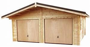 Garage Voiture En Bois : garage pour deux voiture en madriers massif bois ~ Dallasstarsshop.com Idées de Décoration