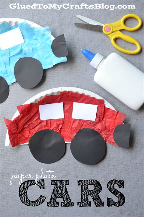 paper plate cars kid craft glued   crafts