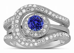 unique and luxurious 2 carat designer sapphire and With designer wedding ring sets