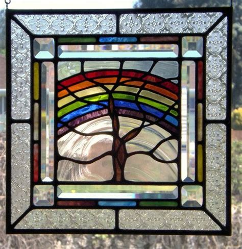 stained glass decor stained glass panel rainbow tree colorful home window decor spring summer summer spring and