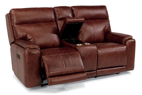 Flexsteel Reclining Loveseat With Console by Flexsteel Living Room Leather Power Reclining Loveseat
