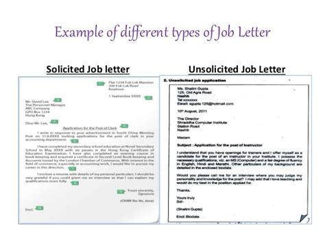 unsolicited cover letter definition
