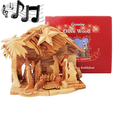 Boxed Musical Olive Wood Nativity from Bethlehem   Silent