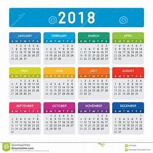 Calendário 2018 colorido ilustração do vetor Ilustração