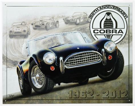 anniversary shelby cobra tin metal sign roadster hot rod