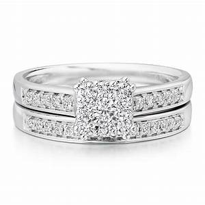 18ct white gold diamond engagement and wedding ring set for Wedding ring sets uk
