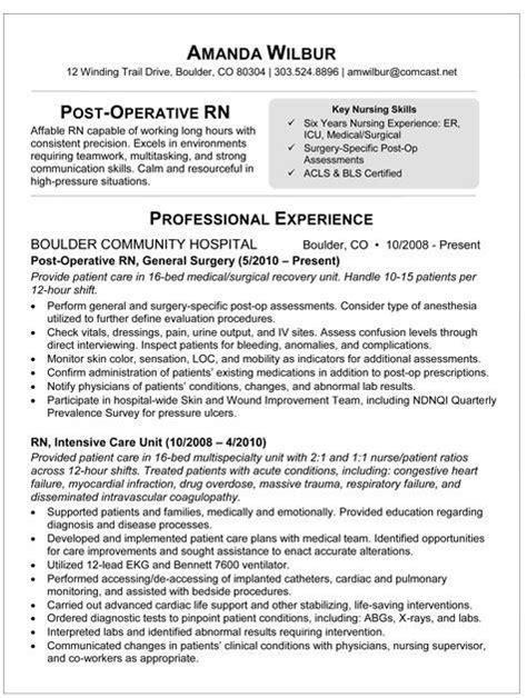 sample resume  post op nurse rn resume nursing