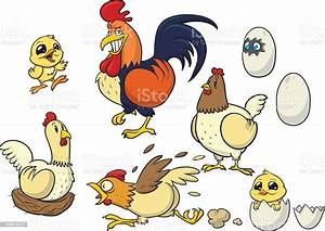 Cartoons Of Chickens Chicks Eggs And Rooster Stock Illustration - Download Image Now