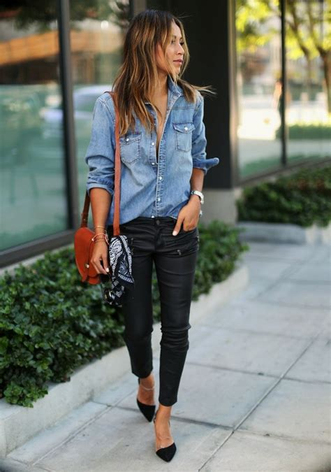 How To Wear A Denim Shirt u0026 Outfits In 21 Different Ways