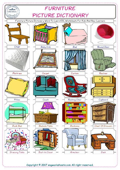 furniture esl printable english vocabulary worksheets