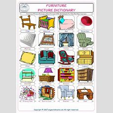 Furniture Picture Dictionary Word To Learn Esl Worksheets For Kids And New Learners