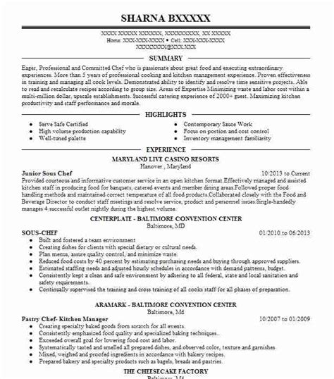 Chef Resumes by Junior Sous Chef Resume Sle Chef Resumes Livecareer