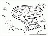 Pizza Coloring Pages Printable Template Slice Popular Cat sketch template