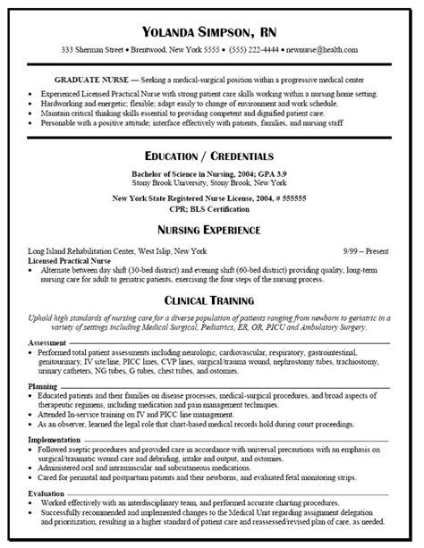 graduate nurse resume exle nursing student probz