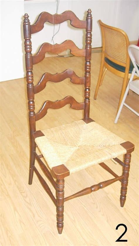 502 antique bottom ladder back chair lot 502