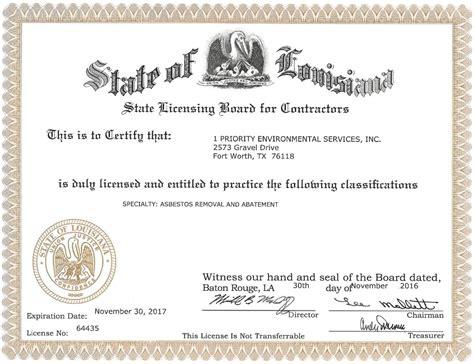 credentials  priority environmental services llc