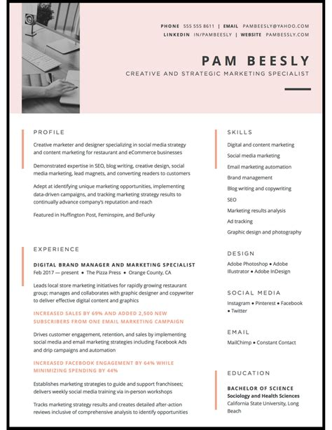 Creative Marketing Resume by Resume Writing Design Sles Services Resume By Nico