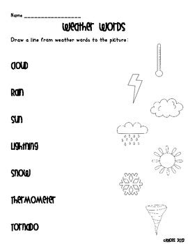 weather themed literacy activity sheets by creative classroom lessons