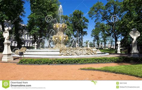 Fountain Of Summer Garden In St Petersburg, Russia Stock