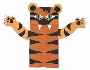 Paper bag tiger craft for Tiger puppet template