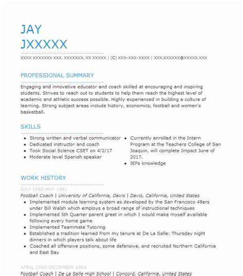 Football Coach Resume by Football Coach Resume Sle Resumes Misc Livecareer
