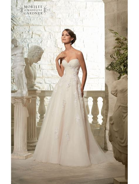Mori Lee 5302 Beaded Tulle Ball Gown Style Wedding Gown