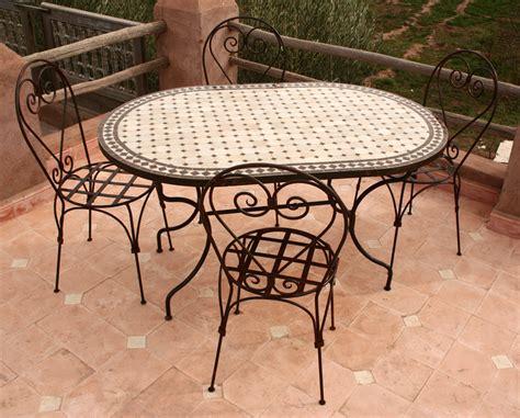 table de jardin mosaique et fer forge jsscene com des