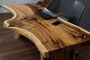 Baumstamm Als Tisch : schreibtisch massivholz baumstamm suar 210x87x77 natur ~ Watch28wear.com Haus und Dekorationen