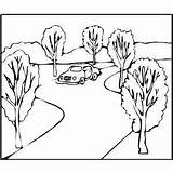 Road Coloring Pages Printable Cars Template طريق Colour Sketch Turning Taa sketch template