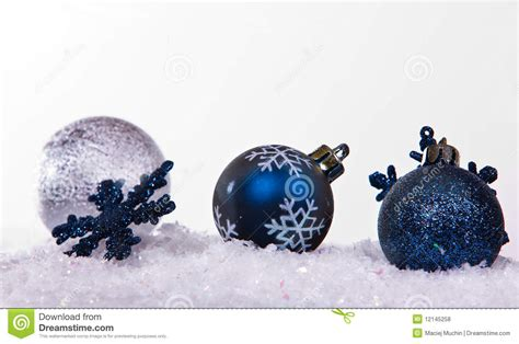 silver and blue christmas balls royalty free stock photos
