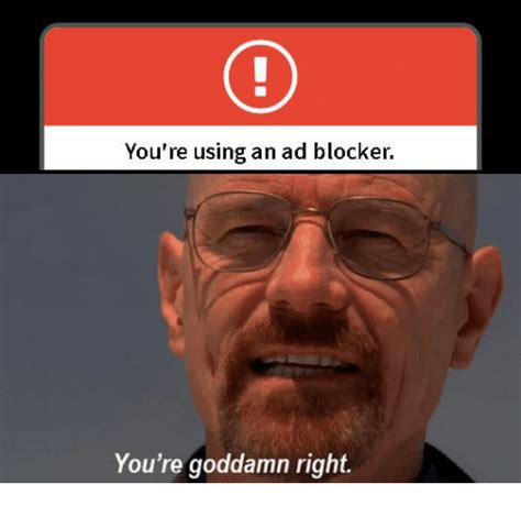You Re Right Meme - you re using an ad blocker you re goddamn right ads meme on sizzle