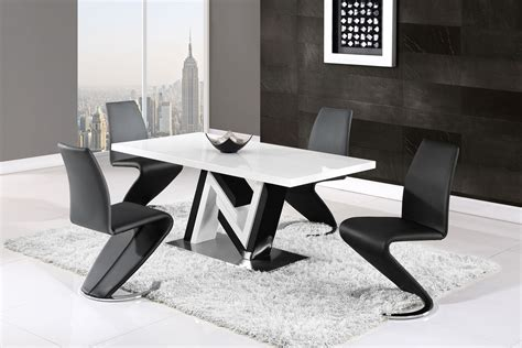 Black And White Dining Table Set by Modern Monochrome Dining Table And Side Leather Chairs