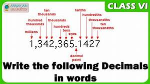 Write The Following Decimals In Words