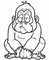 Gorilla Cartoon Coloring Schimpanse Depositphotos Monkey Clipart Vektorbilder Silverback sketch template