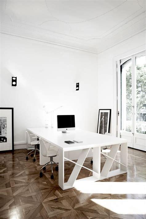 home office large desk light bright white wood floors
