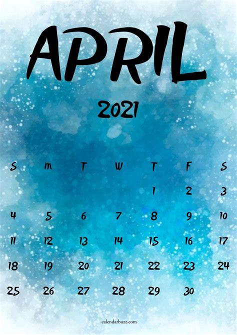 april  watercolor calendar printable