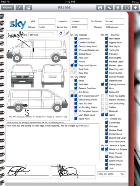 car rental company  ipad  vehicle inspection form