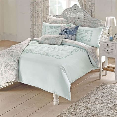 duck egg vintage paris script duvet cover set dunelm