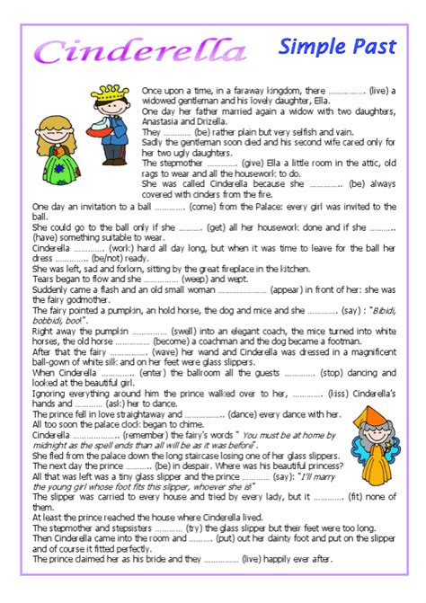 cinderella esl printable worksheets  english exercises