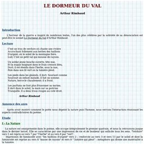 Le Dormeur Du Val Rimbaud Commentaire by Francais Oraux Fiche Pearltrees