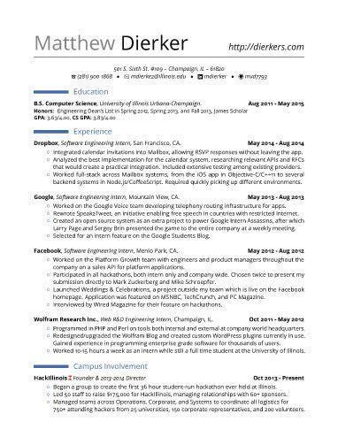 Engineering Internship Resume by Real Software Engineering Internship Resume Template