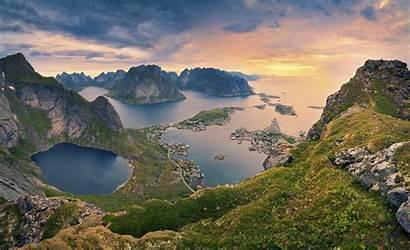 Lofoten Norway Village Mountain Sea Nature Slope