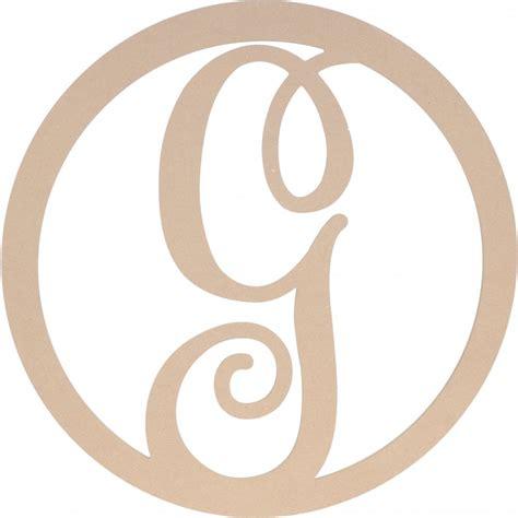 letter g 23 quot script circle monogram wooden letter g ab2240 craftoutlet