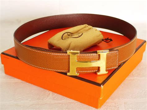 Authentic Hermes H Logo Reversible Belt Brown Gold