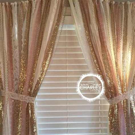 Gold And White Window Curtains by Pink Gold Sparkle Sequin Garland Curtain With Lace
