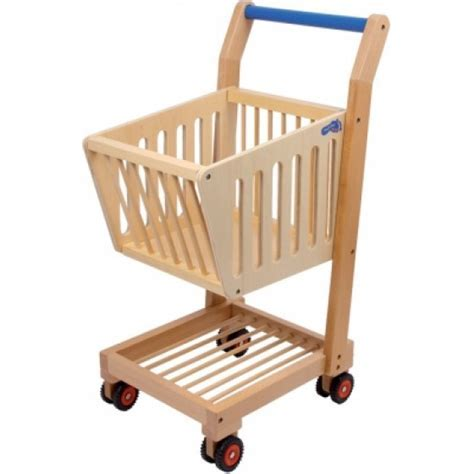 Children's wooden shopping trolley for pretend play