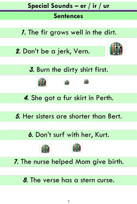 advanced phonics er ir ur word list  sentences
