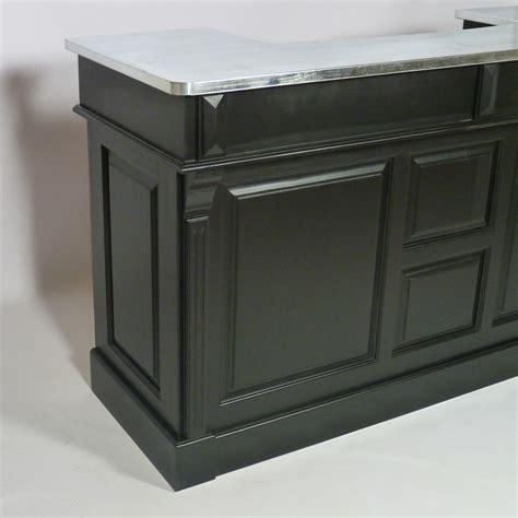 table cuisine modulable bar bois massif noir et plateau zinc 180cm made in meubles