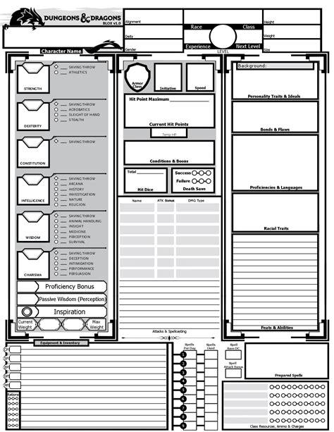 Blox v1.0 Custom 5e Character Sheet : DnD